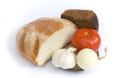 Bread tomato onion and garlic Royalty Free Stock Photography
