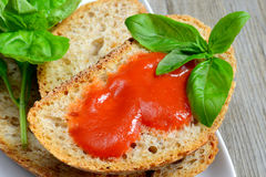 Bread and tomato sauce Royalty Free Stock Photography