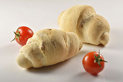 Bread with tomato_2. Bread and tomato on white background Stock Photography