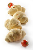 Bread with tomato_3. Bread and tomato on white background Stock Image