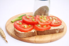 Bread with tomatoes Royalty Free Stock Photos