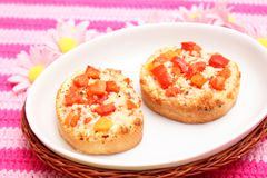 Bread with tomatoes and cheese Stock Images