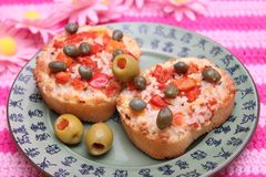 Bread with tomatoes and cheese Royalty Free Stock Image