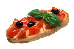 Bread with tomatoes and olives Stock Image