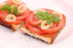 Bread with tomatoes and onions Stock Images