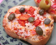 Bread with tomatoes Stock Photos