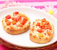 Bread with tomatoes Royalty Free Stock Images