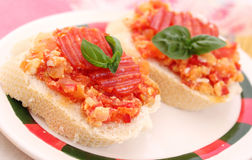 Bread with tomatoes Royalty Free Stock Photo