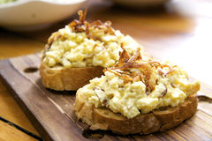 Bread topped with egg mayonnaise Stock Image