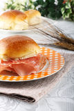 Bread topped with salami and ham Stock Photography