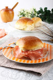 Bread topped with salami and ham Stock Images