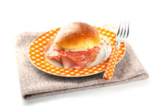 Bread topped with salami and ham Stock Photos