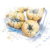 Bread in tray. Bread topping with black sesame in tray. Watercolor painting retouch stock illustration