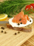 Bread,tuna and cottage cheese Royalty Free Stock Photos