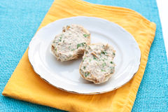 Bread with tuna spread Stock Photos