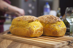 Bread with turmeric and sesame seeds. Royalty Free Stock Images