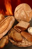 Bread with varied shapes and bakery fire Stock Image