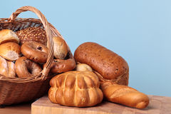 Bread variety in basket. Stock Images