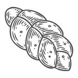 Bread vector hand drawn illustration. Other types of wheat, flour bread.. Gluten food engraved collection. Black isolated on white background Stock Images