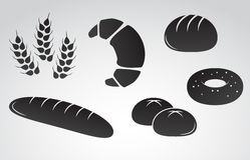 Bread vector icon set. Vector art: bread icon set on white background stock illustration
