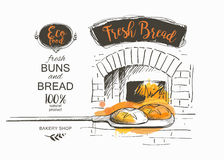 Bread vector illustration. Shovel baked bread the oven vector illustration Stock Photo