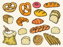 Bread vector set. Hand drawn Colored Bread vector set illustration. Other types of wheat, flour fresh bread. Gluten food bakery engraved collection. Bake organic stock illustration