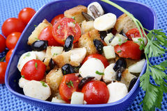 Bread and vegetable salad. In blue bowl Royalty Free Stock Photography