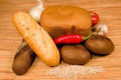 Bread and vegetables. Royalty Free Stock Photos