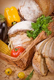 Bread with vegetables Royalty Free Stock Images
