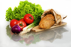 Bread and vegetables Royalty Free Stock Images