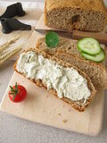 Bread with vegetarian spread Stock Photo