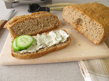 Bread with vegetarian spread Stock Photography