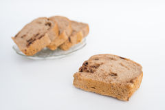 Bread with walnuts and chocolate chips Stock Photos