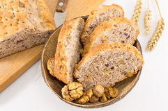Bread with walnuts and raspberries Royalty Free Stock Photo