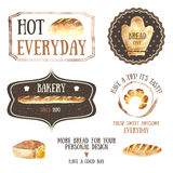 Bread. Watercolor fresh bread bakeries with baguette,loaf of white bread, bagel vintage styled, banners, icons for your design stock illustration