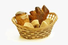 Bread in a wattled basket Royalty Free Stock Image