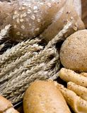 Bread and wheat. An assortment of breads with a small clump of wheat Stock Photo