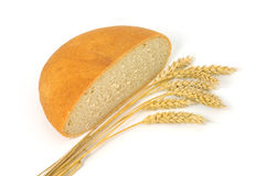 Bread & Wheat. Bread and wheat on a white background royalty free stock photo