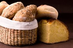 Bread and Wheat. Closeup of Several types of bread Stock Photo