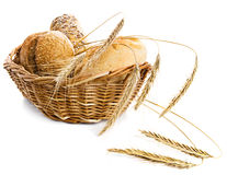 Bread and wheat in a basket Royalty Free Stock Photo