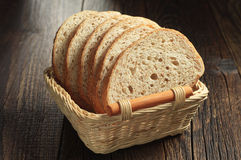 Bread with wheat bran in basket Royalty Free Stock Photo