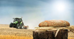 Bread and wheat cereal crops.Traktor on the background. Bread and wheat cereal crops.Cereal crops and traktor on the background stock photo