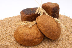 Bread with wheat and ears Stock Image