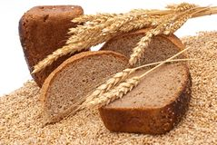 Bread with wheat and ears Stock Photo