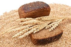 Bread with wheat and ears Royalty Free Stock Photos