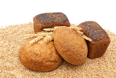Bread with wheat and ears Royalty Free Stock Photo