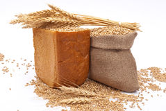 Bread with wheat and ears Royalty Free Stock Images