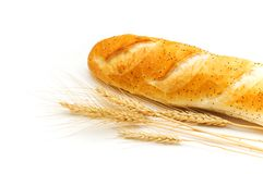Bread and wheat ears isolated. On white Stock Photography