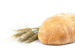 Bread and wheat ears on white background. Stock Photo