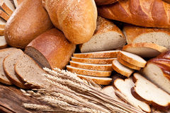 Bread and wheat. Food background. royalty free stock photo